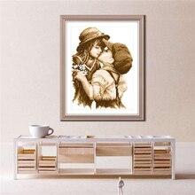 1 Набор Рукоделие Сделай Сам Вышивка крестиком первый романтический поцелуй узор вышивка крестом украшение картина искусство домашний декор