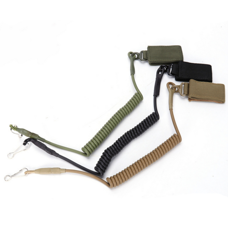 Tactical Bushcraft Sling Retractable Plastic Spring Elastic Rope Anti-lost Keychain gear Outdoor Hike Camp hunt Climb accessory