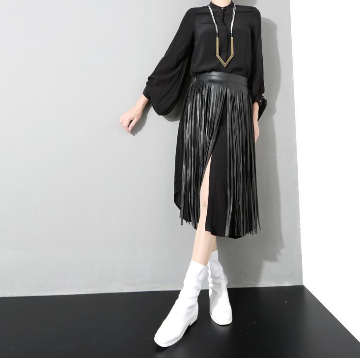 Women's Runway Fashion Pu Leather Tassel Cummerbunds Female Dress Corsets Waistband Belts Decoration Wide Belt R925