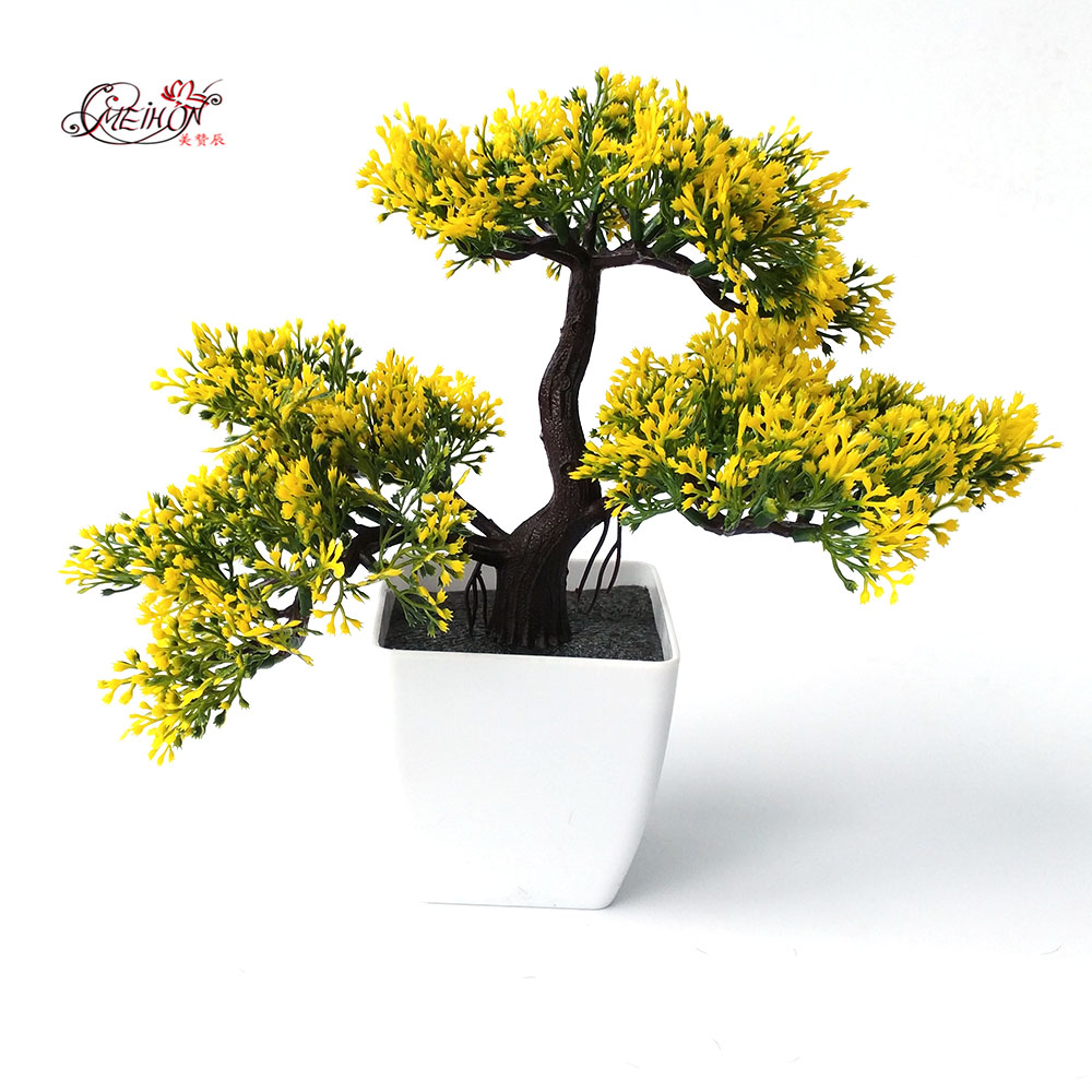 welcoming pines Artificial Flower Tree  Artificial Plant Bonsai green plants for  Decorative interior office number