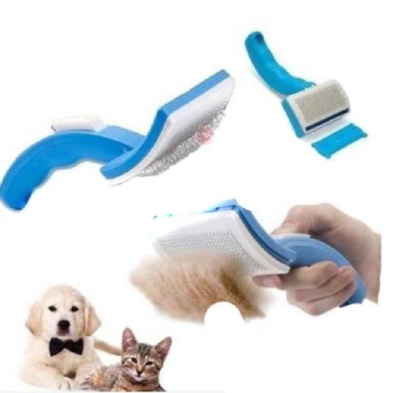 Practical Pet Comb Brush Plastic Handle Clean Shedding