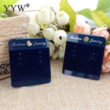 YYW 100 PCs Square PVC Card Blue Printed Ear Hooks Earring Display Cards 45*35mm Luxurious Card Wholesale 2017