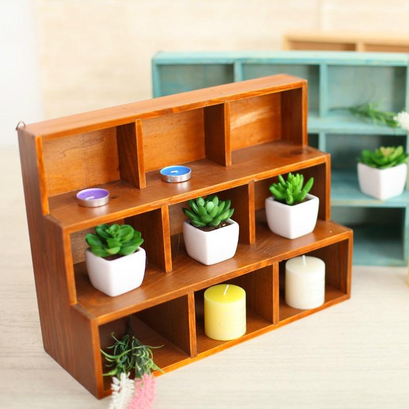 Grocery Retro Old Wooden Desk Succulent Plant Storage Box Desktop Cosmetics Sundries Storage Box