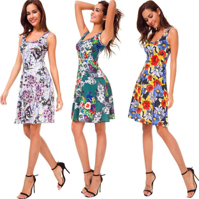 High Quality New Summer Dress Women Sleeveless Print Dress Casual O-Neck Beach Tank Floral Dress Sexy Slim Sweet Dress Vestidos