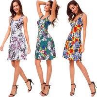 Высококачественное новое летнее платье женское платье без рукавов с принтом повседневное пляжное платье с круглым вырезом и цветочным при...