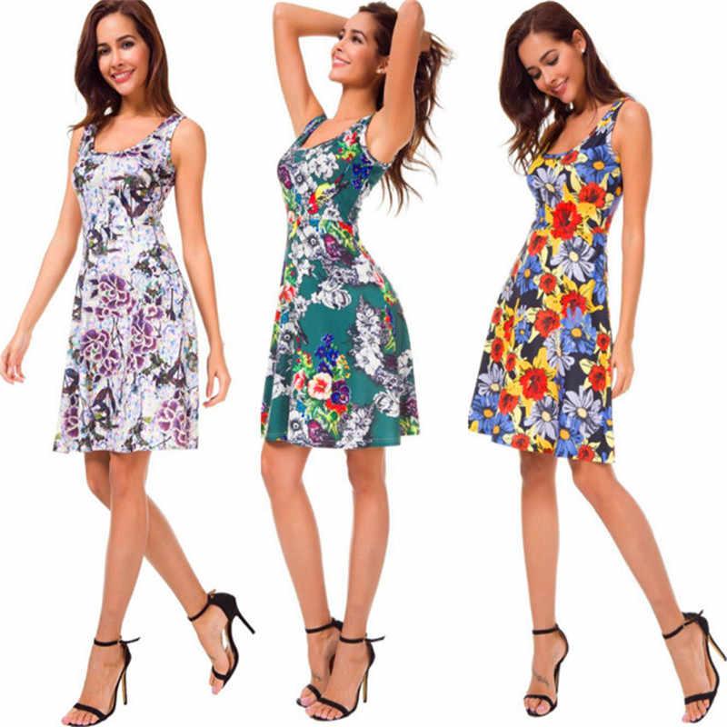 Высококачественное новое летнее платье женское платье без рукавов с принтом повседневное пляжное платье с круглым вырезом и цветочным принтом Сексуальное Тонкое милое платье Vestidos