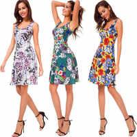 Hohe Qualität Neue Sommer Kleid Frauen Ärmelloses Drucken Kleid Lässig O-ansatz Strand Tank Floral Kleid Sexy Schlank Süße Kleid Vestidos