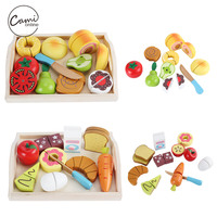 Children Wooden Kitchen Toys Cutting Fruit Vegetable Pretend Play Miniature Food Kids Wooden Cooking Cut Toy