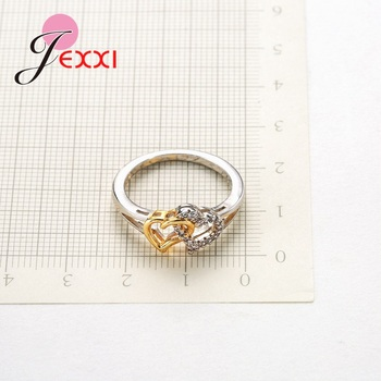 Female Heart with Heart Shaped Romantic Pure 925 Silver Rings With Cubic Zirconia Women Bridal Wedding Bague Bijoux 4