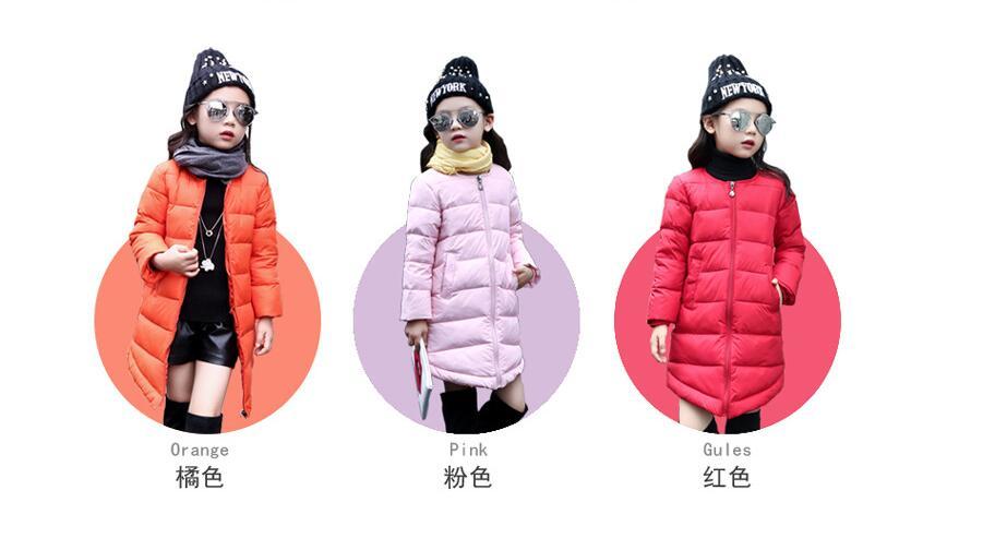 Yeni Çocuk Kış Giyim Ceket Çocuklar Parkas Açık Giyim Uzun tarzı Sıcak İnce kalın coat ceket aşağı Bebek Kız Aşağı ceket