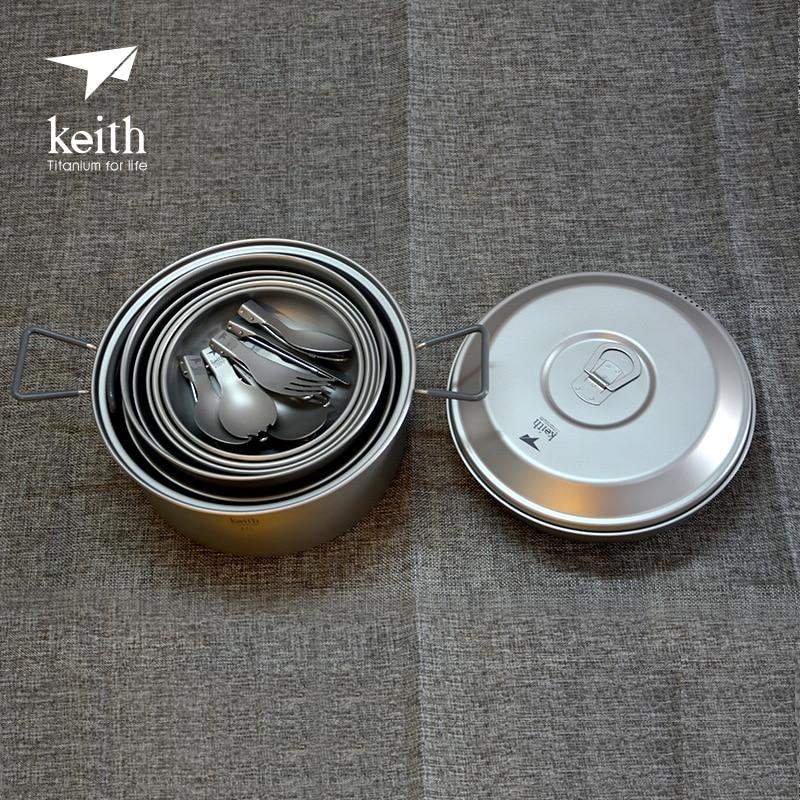 Keith 4-5 ustensiles de cuisine d'extérieur en titane Pot et casserole bol plaque de Camping couverts Ti6201 - 3