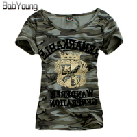 Summer T Shirt Women New Tide Brand Camouflage Clothing Military Uniform Slim Tee Shirt Femme Big