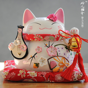 Golden Flower Pipa cat ornaments opening marriage gifts Home Furnishing large ceramic jar