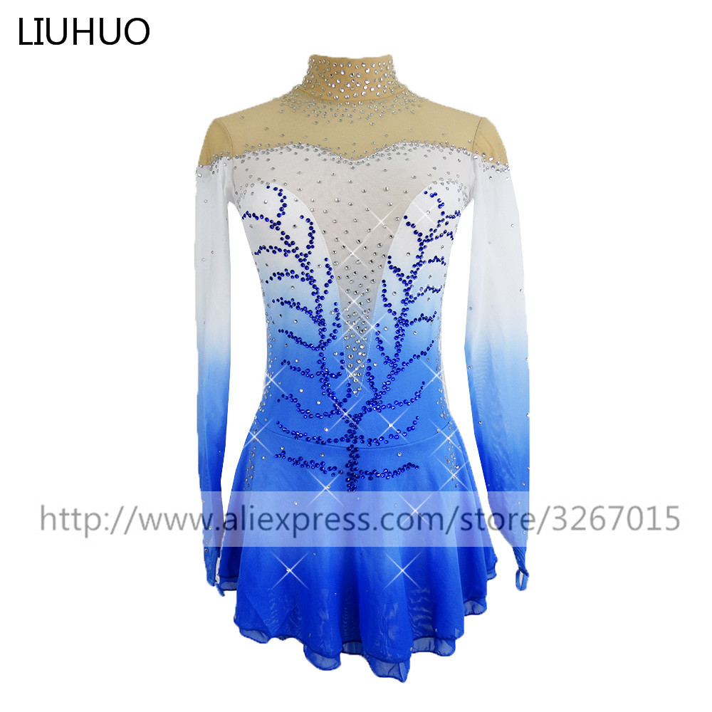 Figure Skating Dress Women's Girls' Ice Skating Dress Competitive performance clothing White blue gradient color Long sleeve-in Ballroom from Novelty & Special Use    1