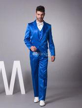 Latest Coat Pant Designs Royal Blue Satin Tuxedo Men Suit Slim Fit 3 Piece Blazers Custom