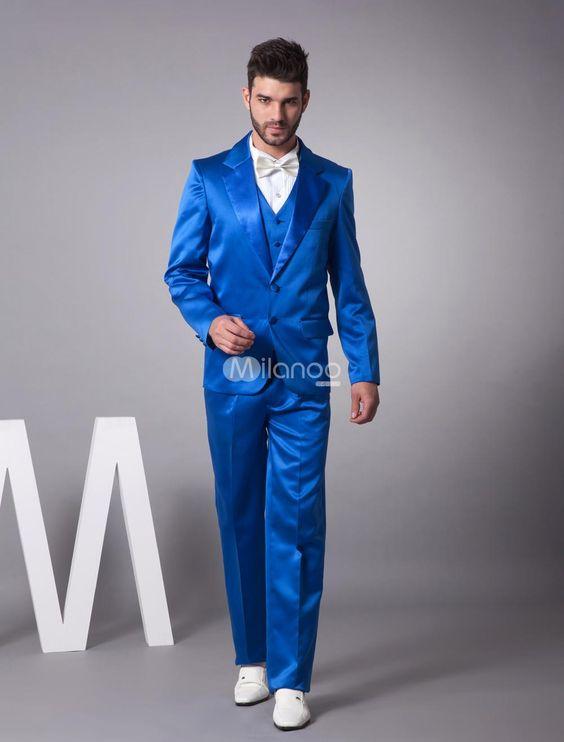 Latest Coat Pant Designs Royal Blue Satin Tuxedo font b Men b font font b Suit