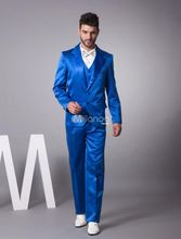 Latest Coat Pant Designs Royal Blue Satin Tuxedo Men Suit Slim Fit 3 Piece Blazers Custom Groom Show Prom Suits Terno Masculino