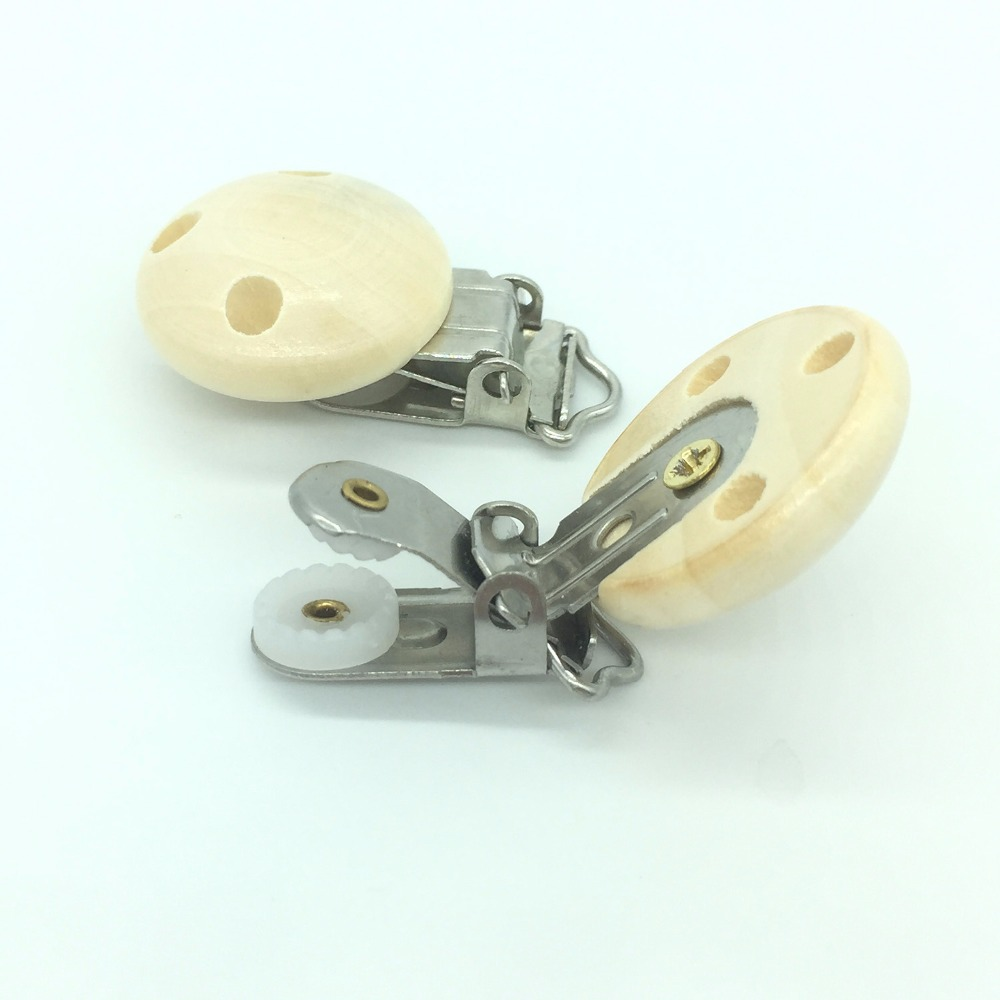 TYRY HU 100pc Metal Wooden Baby Pacifier Clips Solid Color Holders Cute Infant Soother Clasps Holders