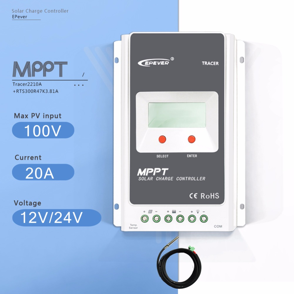 MPPT 20A Tracer 2210A LCD Solar Charge Controller 12V/24V Auto Light and Time Controller PV Regulator with Temperature Sensor mppt 30a solar charge controller 12v 24v 36v 48v auto with lcd dispaly light and dual timer pv short circuit protection it3415