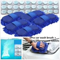 5*Car Sponge Washing Glove & 30pcs Solid Concentrated Washing Tablets Kit Windshield Glass Washer Window Cleaner Effervescent