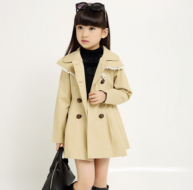 girls trench coat children coat 2015 autumn winter outwear kids ...