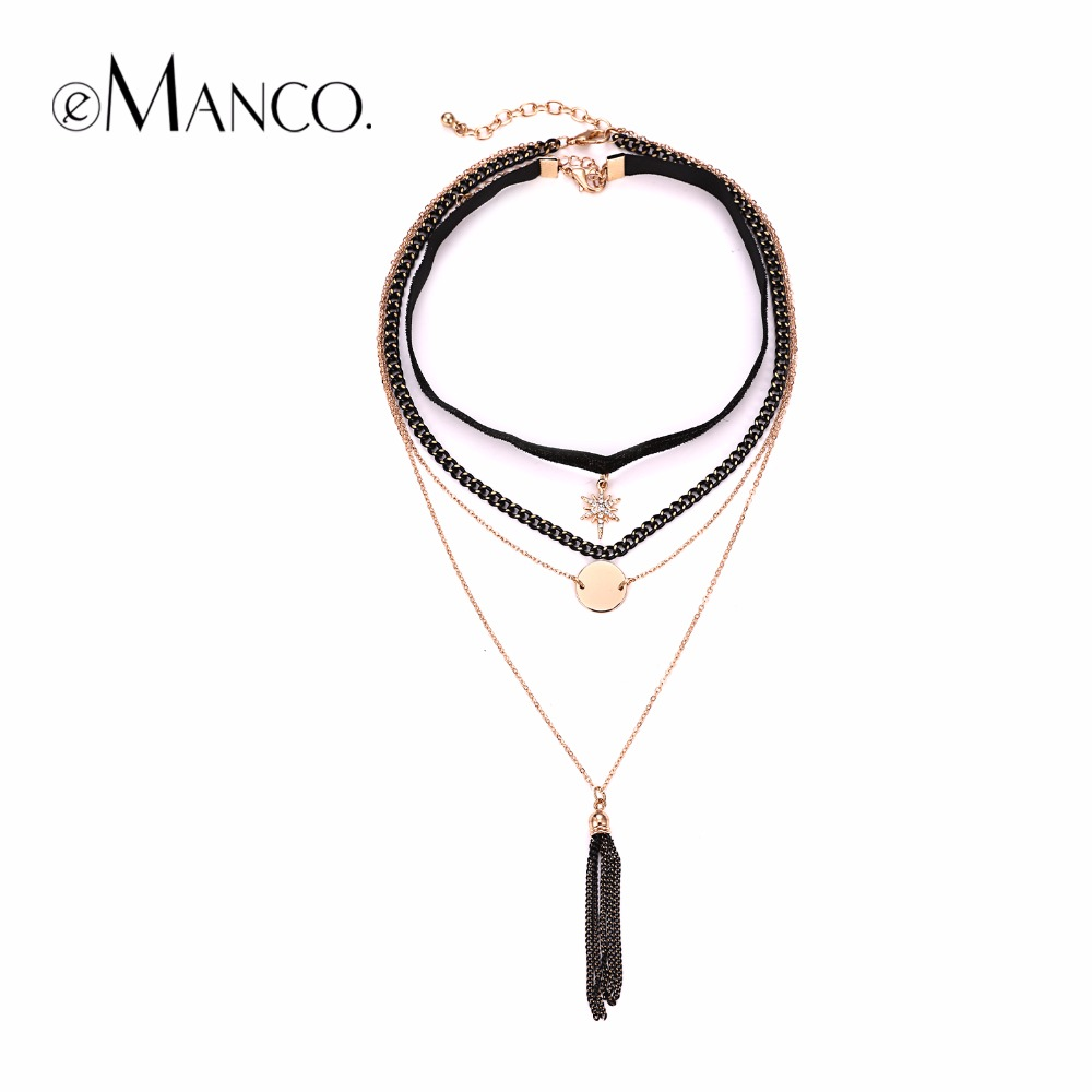 eManco Layered Chokers Necklaces for women 2017 Trendy Metal Chain Tassel Pendants Necklace women's Gothic Choker Jewelry