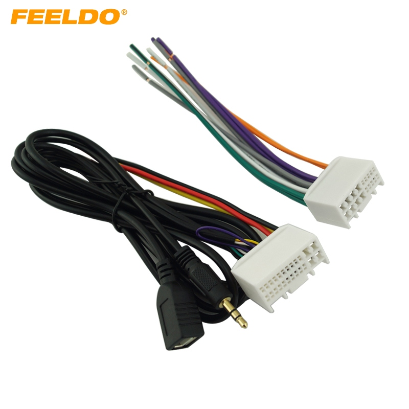 Car Audio CD Stereo Wiring Harness Adapter With USBAUX(3