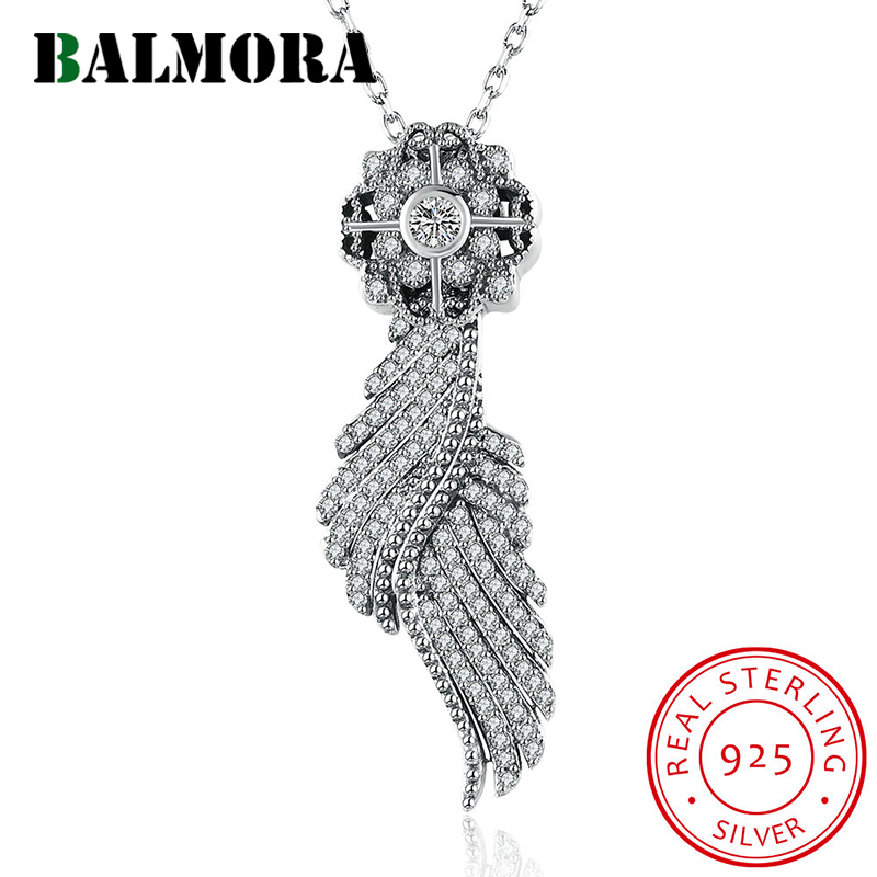 BALMORA New Authentic 925 Sterling Silver Fashion Jewelry Dazzling Angel Wing Pendant Necklaces for Women Gifts Bijoux SVM010