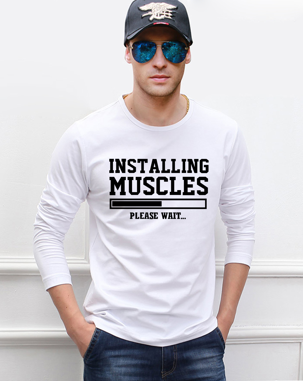 funny men t shirt Installing Muscles fitness men's long sleeve t-shirts 2017 spring new 100% cotton crossfit Camisetas Hombre