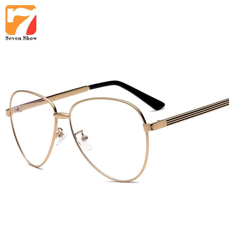 4656d896b الطيار الكمبيوتر قصر النظر نظارات إطارات واضح الذهب الرجال النساء خمر  النظارات الإطار الذكور النظارات النظارات oculos دي غراو