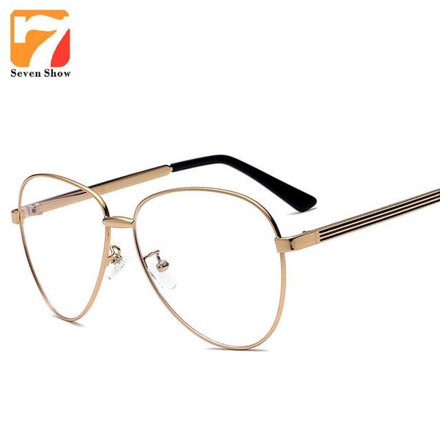 Piloto Óculos Computador Miopia Claras Armações De Óculos De Ouro Das  Mulheres Dos Homens Do Vintage 4c596384eb