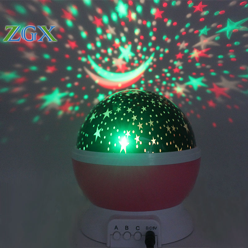 Zgx Led Rotating Night Light Projector Spin Starry Sky