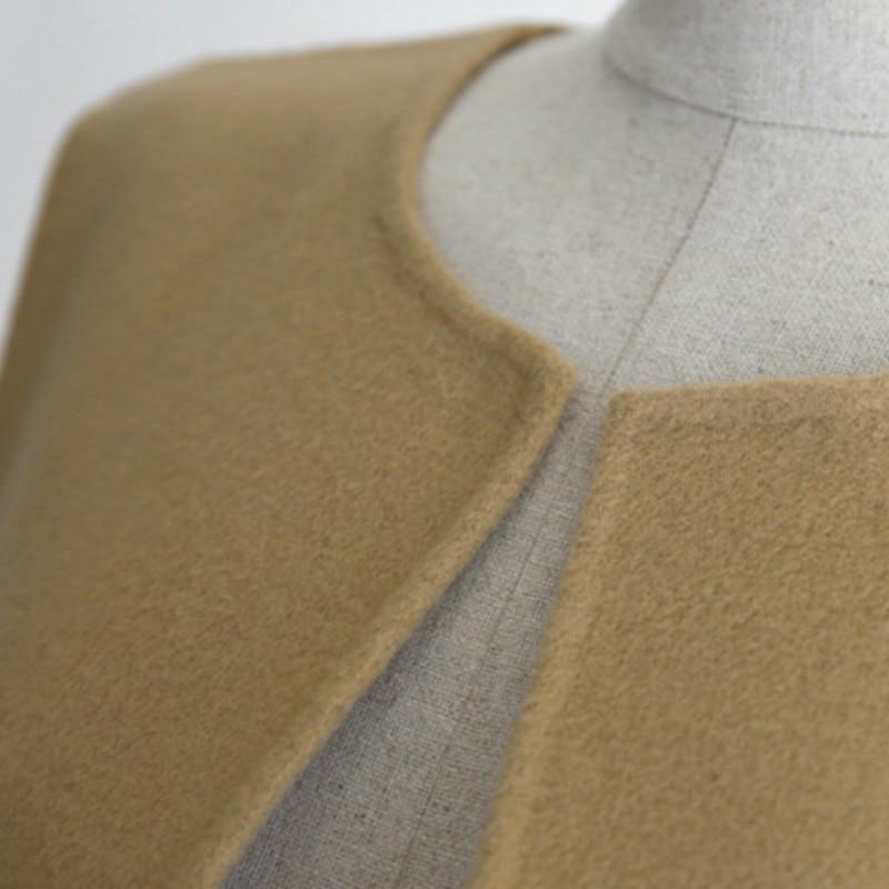 Porter Taille Manches Bureau Casual Sans Long Femmes Laine Veste Printemps Black Plus Mélange Manteau khaki grey Automne La Gilet Dame vx7Caw0qC