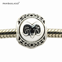 Aries Star Sign Beads 925 Sterling-Silver-Jewelry Twelve Constellations Fit Silver Charm Bracelet Woman Jewelry DIY Wholesale