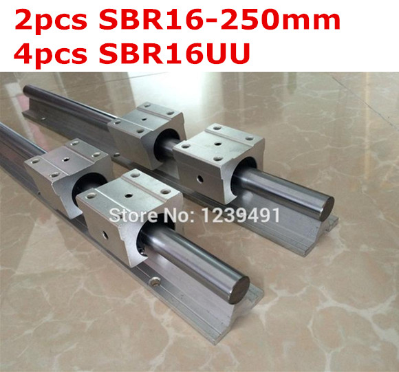 ФОТО 2pcs SBR16  - 250mm linear guide + 4pcs SBR16UU block cnc router