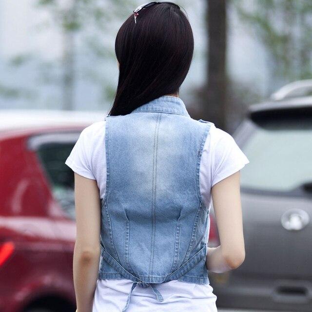 BLUE COLOR  2016 Women Vest Jeans Windproof Denim Sleeveless Jacket  Sky Blue 4colors Hot Sale A753