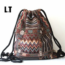 Folk gypsy aztec tribal chic ethnic drawstring bohemian boho string brown