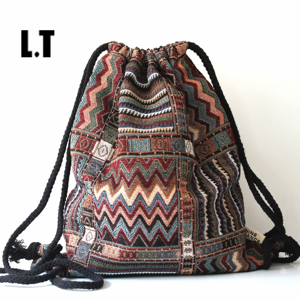 2017 font b Women b font Vintage Backpack Female Gypsy Bohemian Boho Chic Aztec Folk Tribal