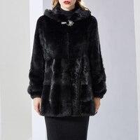2018women's genuine winter fahion Mink fur coat full pelt mink coat collar with hood lady black medium long style