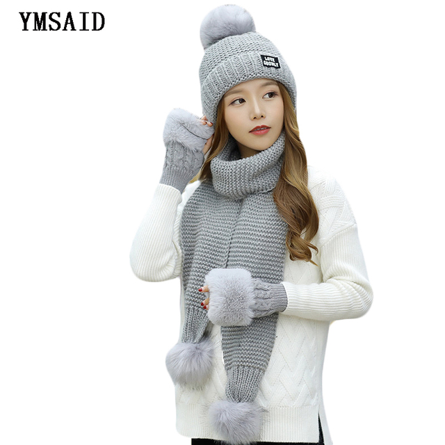 Fashion Ski Woman Winter Hat Scarf Gloves Sets Girls Warm Thick Hat Glove  3pcs Sets Cashmere Knitted Hats Scarf Set For Feamle 559b406d94f4
