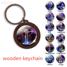 Twelve Constellations Keychain Retro Wooden  Car 12 Zodiac Signs Keyrings Birthday Gift