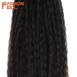 Image 5 - MODE IDOL Afro Verworrene Gerade Haarwebart 6Bundles Mit Closure Ombre Synthetische Haar Verlängerung 7 teile/los 16inch Für schwarz Frauen