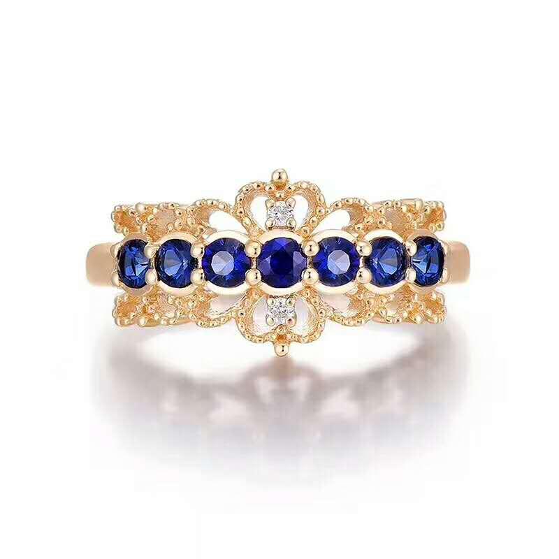 Almei Sri Lanka Sapphire Ring 925 Sterling Silver Gemstone Ring for Womens Jewellery,Designer Luxury Wedding Jewelry FJ114