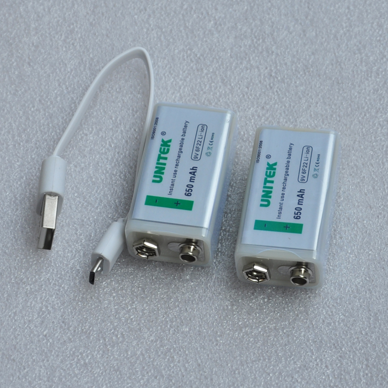 2PCS USB 9V rechargeable battery 650mAh 6F22 lithium ion li-ion cell + cable for microphone Guitar EQ smoke alarm multimeter