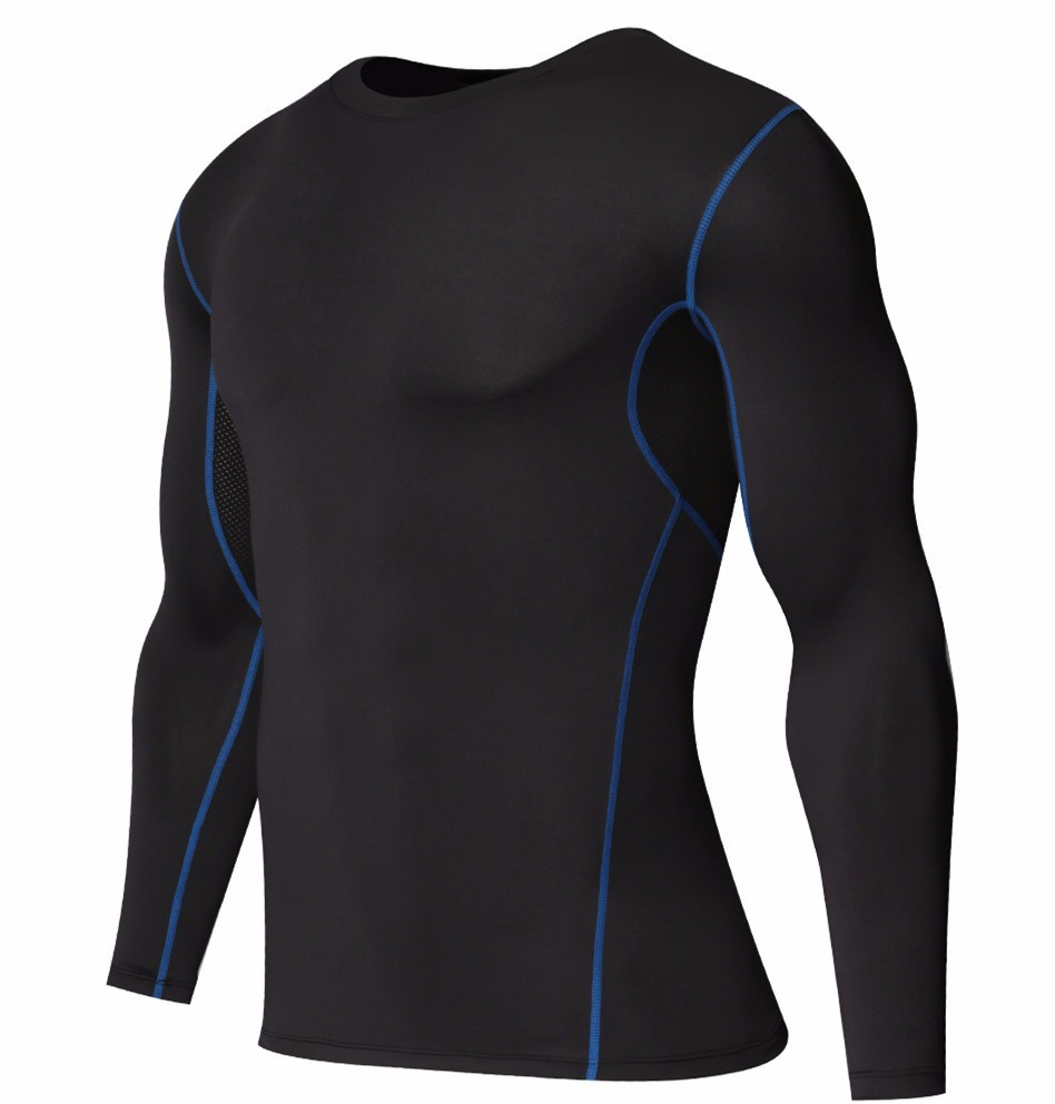 Foto from the right Men's compression t-shirt & pants for sport. 2 pieces Men's compression t-shirt & pants for sport