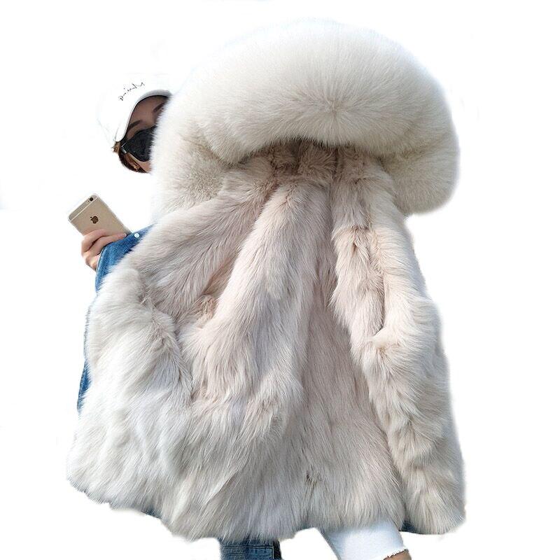 OFTBUY 2019 Inverno Giacca Donna Reale Cappotto di Pelliccia Parka Reale raccoon collo di Pelliccia di volpe fodera bomber giacca di Jeans Streetwear ins di modo-in Pellicce vere da Abbigliamento da donna su  Gruppo 1