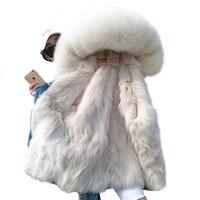 OFTBUY 2019 Winter Jacket Women Real Fur Coat Parka Real raccoon collar fox Fur liner bomber Denim jacket Streetwear ins fashion