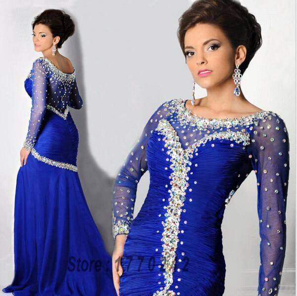 Royal Blue Black Royal Blue Black Beaded Long Sleeve Evening Dresses 2019 Women Mermaid Formal Evening Gowns Robe de Soiree