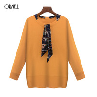 ORMELL Women Scarf Neck Pullover Knitted Long Sleeve Loose Sweater Vintage 2 Colors Ladies Fashion Casual