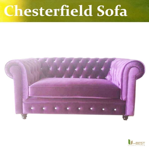 Purple Chesterfield Antique Fabric Sofa, Chesterfield Loveseat Sofa ,2  Seater Sofa,Country Style Living Room Sofa In Living Room Sofas From  Furniture On ...